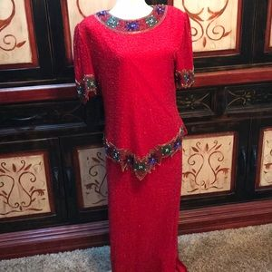 Christmas beaded maxi party vintage dress